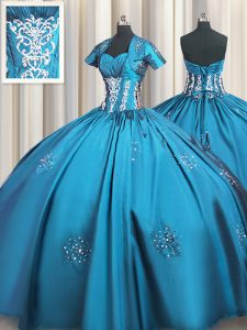 Ball Gowns Quinceanera Dress Teal Sweetheart Taffeta Short Sleeves Floor Length Lace Up