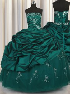 Sleeveless Taffeta Floor Length Lace Up 15 Quinceanera Dress in Peacock Green with Beading and Appliques and Embroidery and Pick Ups