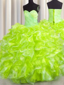 Yellow Green Lace Up Sweet 16 Quinceanera Dress Beading and Ruffles Sleeveless Floor Length