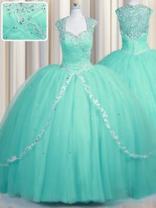 Zipper Ball Gown Prom Dress Aqua Blue for Military Ball and Sweet 16 and Quinceanera with Beading and Appliques Brush Train