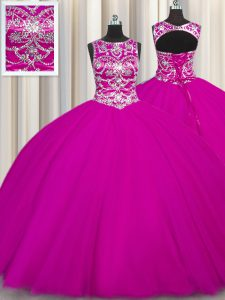 Scoop Floor Length Lace Up Quinceanera Dress Fuchsia for Military Ball and Sweet 16 and Quinceanera with Beading and Appliques