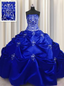 On Sale Sleeveless Taffeta Floor Length Lace Up 15 Quinceanera Dress in Royal Blue with Beading and Appliques and Embroidery