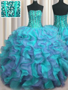 Visible Boning Beaded Bodice Multi-color Lace Up Strapless Beading and Ruffles Sweet 16 Quinceanera Dress Organza Sleeveless