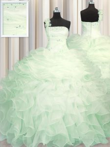 One Shoulder Organza Sleeveless Floor Length Quinceanera Gown and Beading and Ruffles