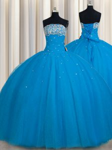 Fitting Really Puffy Sleeveless Lace Up Floor Length Beading and Sequins Quince Ball Gowns
