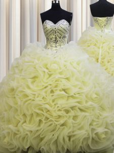 Rolling Flowers Brush Train Light Yellow Sweetheart Lace Up Beading and Pick Ups Quinceanera Gowns Sleeveless