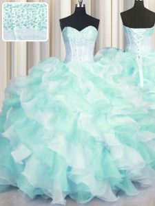 Two Tone Visible Boning Sleeveless Lace Up Floor Length Beading and Ruffles Vestidos de Quinceanera