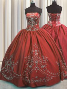 Edgy Taffeta Sleeveless Floor Length 15 Quinceanera Dress and Beading and Embroidery