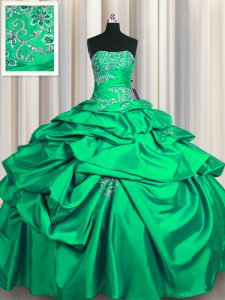 Eye-catching Sleeveless Taffeta Floor Length Lace Up Quinceanera Dress in Turquoise with Appliques and Pick Ups