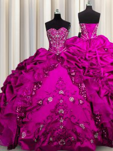 Sequins Fuchsia Lace Up Sweet 16 Quinceanera Dress Beading and Embroidery and Ruffles Sleeveless Floor Length
