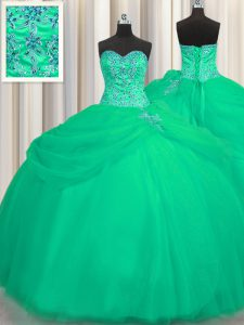 High End Big Puffy Sleeveless Beading Lace Up Quinceanera Dresses