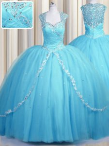 See Through Tulle Cap Sleeves With Train Quinceanera Dresses Brush Train and Beading and Appliques