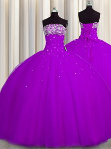 Pretty Really Puffy Purple Ball Gowns Beading and Sequins Sweet 16 Quinceanera Dress Lace Up Tulle Sleeveless Floor Length