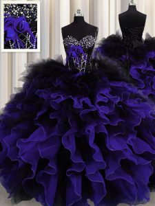 Simple Black And Purple Sleeveless Organza and Tulle Lace Up 15th Birthday Dress for Military Ball and Sweet 16 and Quinceanera