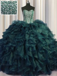 Visible Boning Bling-bling Peacock Green Ball Gowns Sweetheart Sleeveless Organza With Brush Train Lace Up Beading and Ruffles Quinceanera Dress