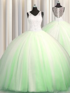See Through Zipple Up V-neck Sleeveless 15 Quinceanera Dress Brush Train Beading and Appliques Tulle