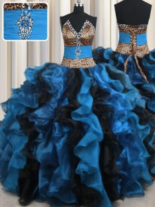 Leopard Two Tone V Neck Sleeveless Floor Length Beading and Ruffles Lace Up Quinceanera Gowns with Blue And Black