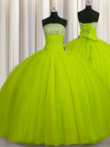 Big Puffy Yellow Green Ball Gowns Beading and Sequins Sweet 16 Quinceanera Dress Lace Up Organza Sleeveless Floor Length