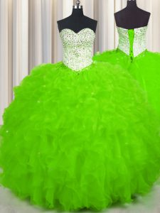 Ball Gowns Tulle Sweetheart Sleeveless Beading and Ruffles Floor Length Lace Up Sweet 16 Dresses