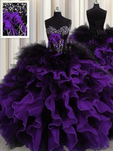 Black And Purple Lace Up Quinceanera Dress Beading and Ruffles Sleeveless Floor Length