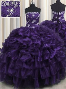 Purple Organza Lace Up Quince Ball Gowns Sleeveless Floor Length Appliques and Ruffles and Ruffled Layers