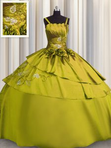 Stylish Sleeveless Floor Length Beading and Embroidery Lace Up Quince Ball Gowns with Olive Green