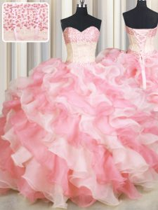 Pretty Visible Boning Two Tone Floor Length Lace Up Quince Ball Gowns Pink And White for Military Ball and Sweet 16 and Quinceanera with Beading and Ruffles