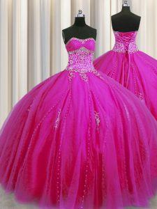 Really Puffy Fuchsia Lace Up Quinceanera Dresses Beading and Appliques Sleeveless Floor Length