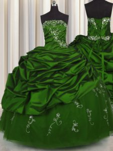 Pick Ups Embroidery Floor Length Green 15 Quinceanera Dress Strapless Sleeveless Lace Up