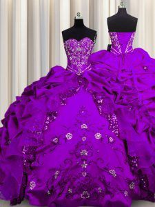 Low Price Sequins Floor Length Lace Up 15 Quinceanera Dress Purple for Military Ball and Sweet 16 and Quinceanera with Beading and Embroidery and Ruffles