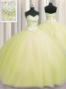 Charming Bling-bling Puffy Skirt Light Yellow Quinceanera Gown Military Ball and Sweet 16 and Quinceanera with Beading Sweetheart Sleeveless Lace Up
