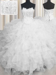 Decent White Ball Gowns Organza Scalloped Sleeveless Beading and Ruffles Floor Length Lace Up Sweet 16 Quinceanera Dress