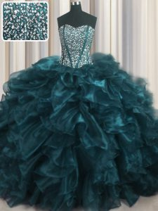 Flare Visible Boning Bling-bling Teal Organza Lace Up Quinceanera Gowns Sleeveless With Brush Train Beading and Ruffles