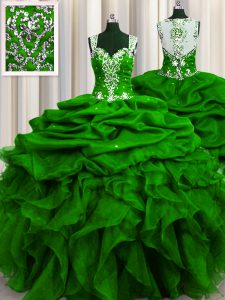 Attractive See Through Back Green Zipper Straps Beading and Ruffles and Sequins and Pick Ups Ball Gown Prom Dress Organza Sleeveless