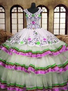 Fabulous Sleeveless Organza Floor Length Lace Up Quinceanera Dresses in Multi-color with Embroidery and Ruffled Layers