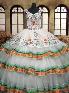 Shining Multi-color Organza Lace Up 15th Birthday Dress Sleeveless Floor Length Embroidery and Ruffled Layers
