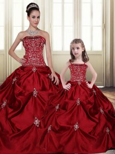 Embroidery Pick Ups Wine Red Sleeveless Taffeta Lace Up 15 Quinceanera Dress for Military Ball and Sweet 16 and Quinceanera
