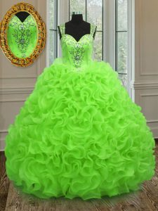 Designer Organza Sleeveless Floor Length 15th Birthday Dress and Beading and Ruffles