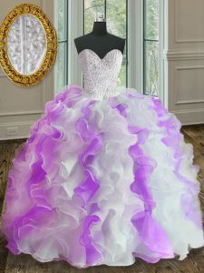 Dynamic White And Purple Ball Gowns Beading and Ruffles Party Dress for Girls Lace Up Organza Sleeveless Floor Length