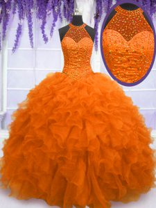 Comfortable Organza High-neck Sleeveless Lace Up Beading and Ruffles Sweet 16 Quinceanera Dress in Orange Red