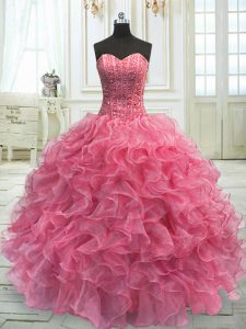 Best Selling Sleeveless Floor Length Beading and Ruffles Lace Up Vestidos de Quinceanera with Rose Pink