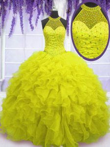 Organza High-neck Sleeveless Lace Up Beading and Ruffles Sweet 16 Quinceanera Dress in Yellow