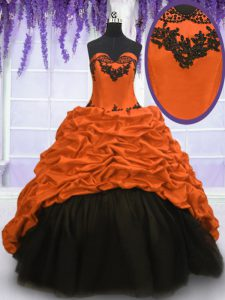 Shining Sleeveless With Train Appliques and Pick Ups Lace Up Quinceanera Dress with Multi-color Sweep Train