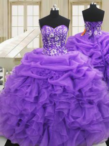 Ideal Organza Sweetheart Sleeveless Lace Up Embroidery and Ruffles Quinceanera Gowns in Purple