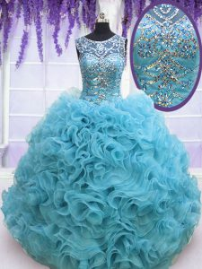 Square Sleeveless Lace Up Sweet 16 Dress Baby Blue Organza