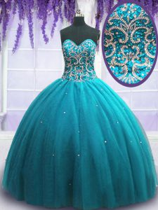 Cheap Teal Tulle Lace Up Sweetheart Sleeveless Floor Length Sweet 16 Quinceanera Dress Beading