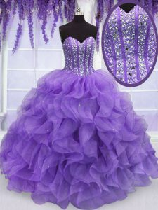 Floor Length Lavender Sweet 16 Dress Organza Sleeveless Beading and Ruffles