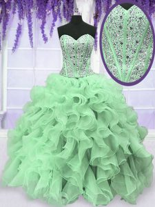 Latest Floor Length Ball Gowns Sleeveless Apple Green Quince Ball Gowns Lace Up