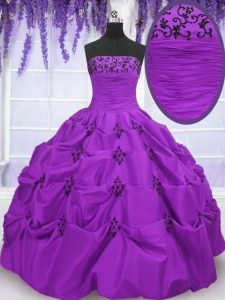 Hot Selling Taffeta Sleeveless Floor Length Quinceanera Gowns and Embroidery and Pick Ups