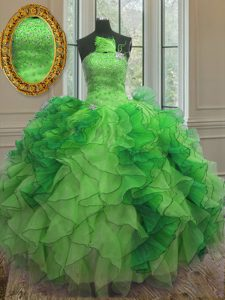 Dazzling Floor Length Lace Up Quinceanera Dresses Green for Military Ball and Sweet 16 and Quinceanera with Beading and Ruffles